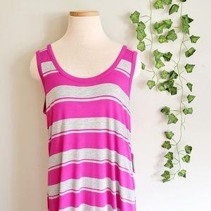 NWT Calvin Klein Pink Stripe Maxi Dress  12